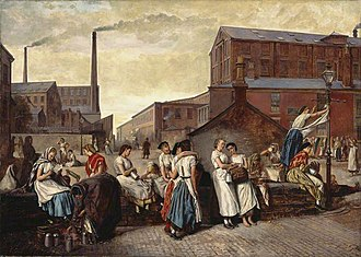 Eyre Crowe (painter) - The Dinner Hour, Wigan (1874), depicting mill girls relaxing at lunchtime