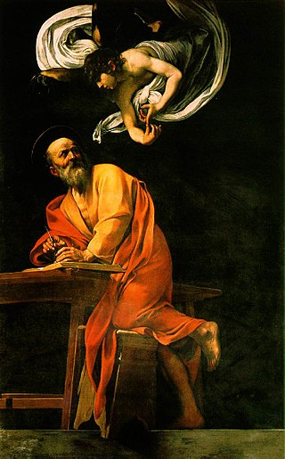 La inspiración de San Mateo de Caravaggio 320px-The_Inspiration_of_Saint_Matthew_by_Caravaggio