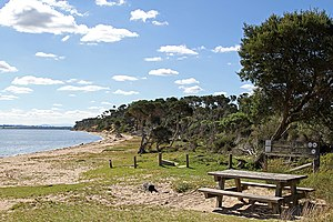 The Lakes National Park - The park boundary on Pelican Bay in Loch Sport