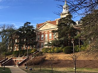 "Howard University - The Lower Quadrangle behind Founders Library; also known as ""The Valley."""