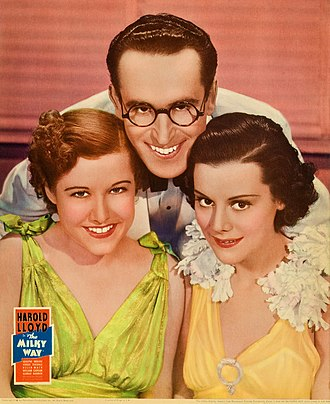 Dorothy Wilson (actress) - Dorothy Wilson, Harold Lloyd, and Helen Mack from a poster for The Milky Way (1936)