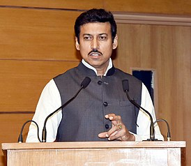 The Minister of State for Youth Affairs & Sports and Information & Broadcasting (IC), Col. Rajyavardhan Singh Rathore addressing at the flag-off ceremony of an all-women expedition to Mt. Manirang (Himachal Pradesh).JPG