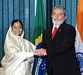 The President, Smt. Pratibha Devisingh Patil meeting with the President of Brazil, Mr. Luiz Inacio Lula Da Silva, at Palacio to Plantto at Brazilia on April 16, 2008.jpg