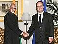 The President of France, Mr. Francois Hollande meeting the Vice President, Shri M. Hamid Ansari, in New Delhi on January 25, 2016.jpg