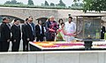The President of Myanmar, Mr. Htin Kyaw paying floral tributes at the Samadhi of Mahatma Gandhi, at Rajghat, in Delhi on August 29, 2016.jpg