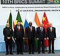 The Prime Minister, Shri Narendra Modi in the BRICS Family Photograph with other Leaders, at the 10th BRICS Summit, at the Sandton International Convention Centre, in Johannesburg, South Africa on July 26, 2018.JPG