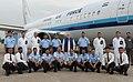 The Prime Minister, Shri Narendra Modi with crew of the special flight before emplaning for Goa, in New Delhi on June 14, 2014.jpg