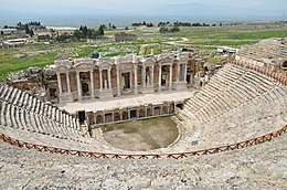 The Roman theatre, built in the 2nd century AD under Hadrian on the ruins of an earlier theatre, later renovated under Septimius Severus, Hierapolis, Turkey (16569008773).jpg