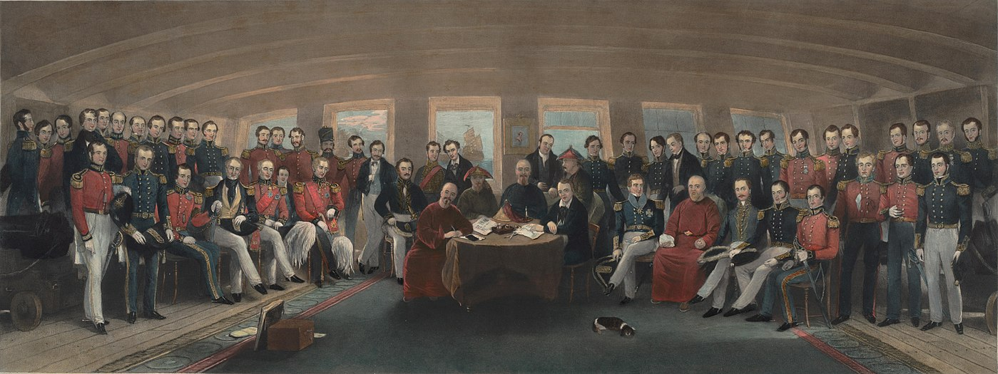 Oil painting depicting the signing of the Treaty of Nanking. The Signing of the Treaty of Nanking.jpg