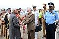 The Vice President, Shri M. Hamid Ansari being bid farewell by the Governor of Kerala, Justice (Retd.) Shri P. Sathasivam, in Thiruvananthapuram, Kerala.jpg