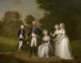 Wilhelm IX, Landgrave of Hesse-Cassel, later Elector Wilhelm I, his wife, Wilhelmine Caroline and their children, Wilhelm, Friederika and Caroline