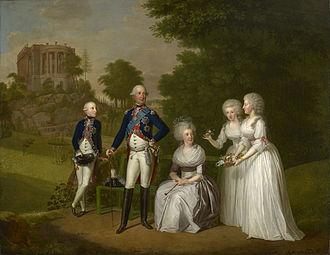Princess Wilhelmina Caroline of Denmark - William IX, Wilhelmine Caroline of Denmark, and their children, Wilhelm, Friederika and Caroline. Painting by Wilhelm Böttner, 1791.