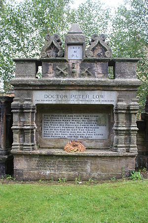 Peter Lowe (surgeon) - The grave of Peter Low, Glasgow Cathedral churchyard