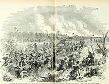 Historical drawing depicting Union soldiers advancing through marshlands.