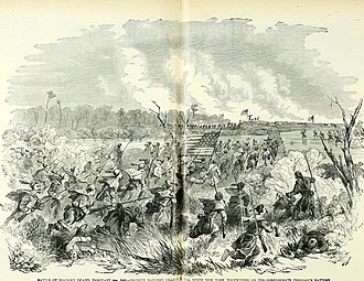 Roanoke Island - Historical drawing depicting Union soldiers advancing through marshlands.