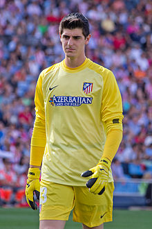 Courtois xogando co Atlético de Madrid en 2013