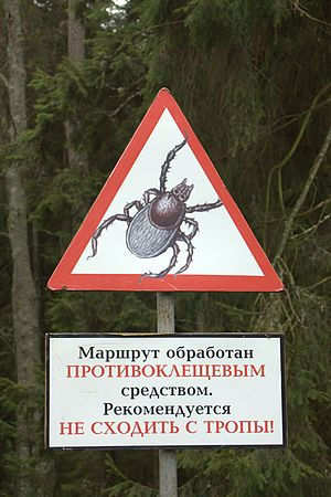 English: Tick warning sign in Russia.