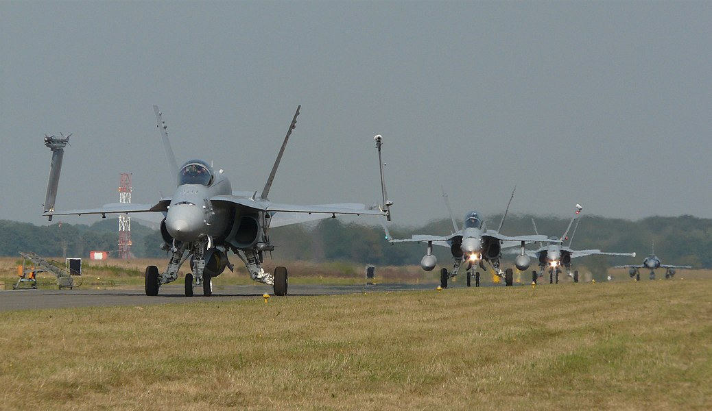 Nice to see that the wings are differently mowing by each FA18. In the background you can see a Mirage 2000. This was at the Nato Tiger meet 2009 at Kleine Brogel.