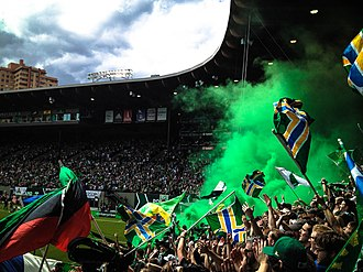 Soccer in the United States - The Timbers Army celebrates a goal at Providence Park, home of  the Portland Timbers