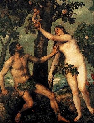 The Fall of Man (Rubens) - Image: Titian Adam and Eve WGA22816