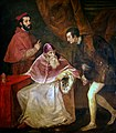 Titian - Pope Paul III with his Grandsons Alessandro the young and Ottavio Farnese - WGA22985.jpg