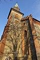 Tjøme kirke Church nygotisk langkirke 1866 Architect Anders Thorød Tower tårn Shadow skygge Winter afternoon light Færder Municipality, Norway 2020-01-15 1866.jpg