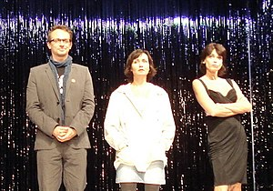 Gerit Kling - Tobias Schulze (left), Astrid Rashed (center) and Gerit Kling (right)on the stage of the Kudammtheater (2009)