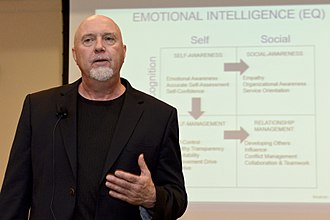 "Emotional intelligence - Tom Reed describes four stages of emotional intelligence: self-awareness, social consciousness, self-care and relationship management, as part of NAVAIR's ""Mentoring at the Speed of Life"" event"