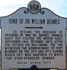Tomb of Dr William Beanes sign.png