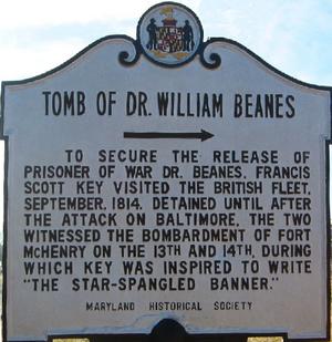 William Beanes - Image: Tomb of Dr William Beanes sign