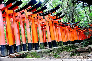 Fushimi Inari-taisha - A torii path across the mountain from the side