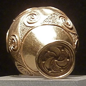 Celts - Triskelion and spirals on a Galician torc terminal, Museum of Castro de Santa Tegra, A Guarda
