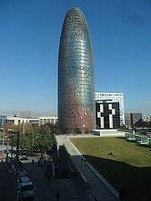 Torre Agbar - vista des del segon pis del DHUB.jpg