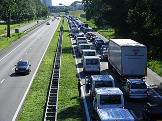 Transport in the Netherlands - Traffic jam on the A325 (Arnhem)