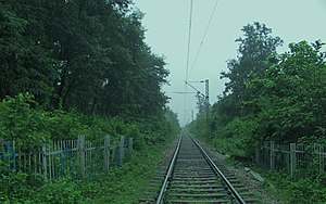 English: Near Nischitpur, this broad gauge tra...