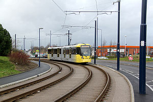 Reserved track - Tram on a reserved track section on the Manchester Metrolink
