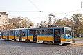 Tram in Sofia near Russian monument 075.jpg
