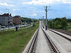 Tram line, Broomhouse Drive (geograph 3510460).jpg
