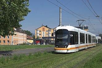 Line 5 Eglinton - Green track along an LRT line in Linz, Austria