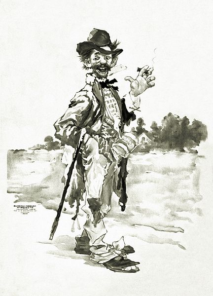 Tramp smoking cigar and cane over arm - Illustration