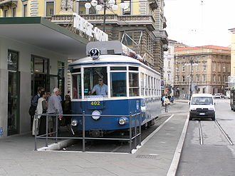 Trieste–Opicina tramway - Tramcar 402 at the recently rearranged Piazza Oberdan terminus.