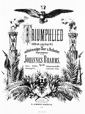 Triumphlied - Title page of the score, published by N. Simrock