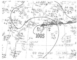 1944 Atlantic hurricane season - Image: Tropical Storm Six surface analysis 1944