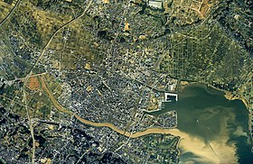Tsuchiura city center area Aerial photograph.1990.jpg