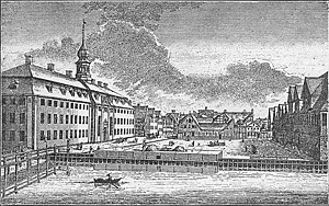 Christianshavns Torv - Christianshavns Torv seen in the 18th century with de Lange's prison building seen on the left
