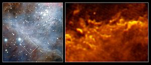 Astrochemistry - Image: Turbulent border in Orion Nebula
