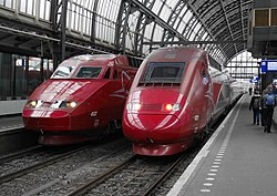 Thalys PBA and Thalys PBKA in Amsterdam CS, with services to and from Paris Nord