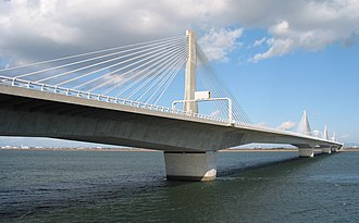 Cable-stayed bridge - The Twinkle-Kisogawa is an extradosed design, with long gaps between the cable supported sections.