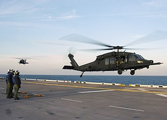 160th Special Operations Aviation Regiment (Airborne) - Image: Two UH 60M, 160th SOAR on USS Bataan on 10 Feb. 2006