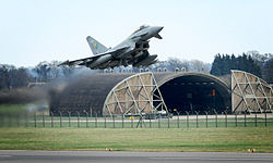 A Eurofighter Typhoon takes off from RAF Coningsby.